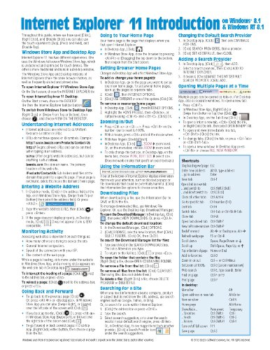 Internet Explorer 11 for Windows 8.1 Quick Reference Guide: