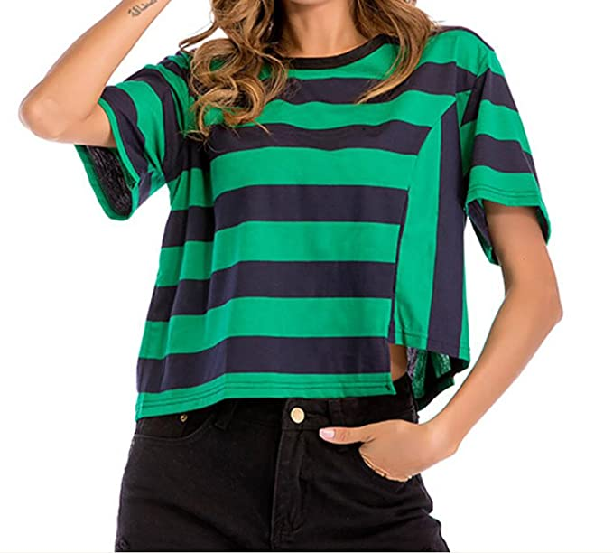 4a59bf45 GRMO-Women Striped Short Sleeve Plus Size Loose T-Shirts Crop Tops Green US