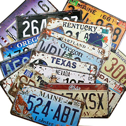 Vintage Car Decor (12 Pieces Assorted Retro Vintage State Number Tags, 3D Embossed Licenses, Home Wall)