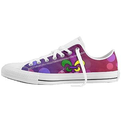 reputable site b6cd7 6a3e1 Amazon.com  Mardi Gras Fleur De Lis Unisex Classic Canvas Lace Up Shoes  Sneakers For Men   Women  Clothing