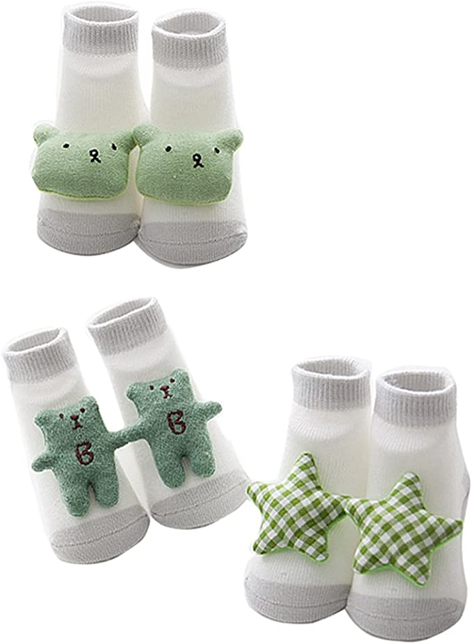 Cartoon Newborn Baby Soft  Non-slip Lace Socks One Size Suitable 0-6 Month