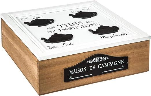 Caja para el té de madera - Estilo casa de campo - Colores Madera y Blanco: Amazon.es: Hogar