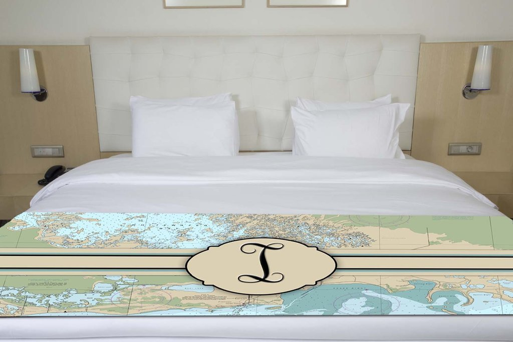 Letter I Nautical Chart Map Initial Monogram Premium Runner Scarf Twin/Full/Queen/King Size