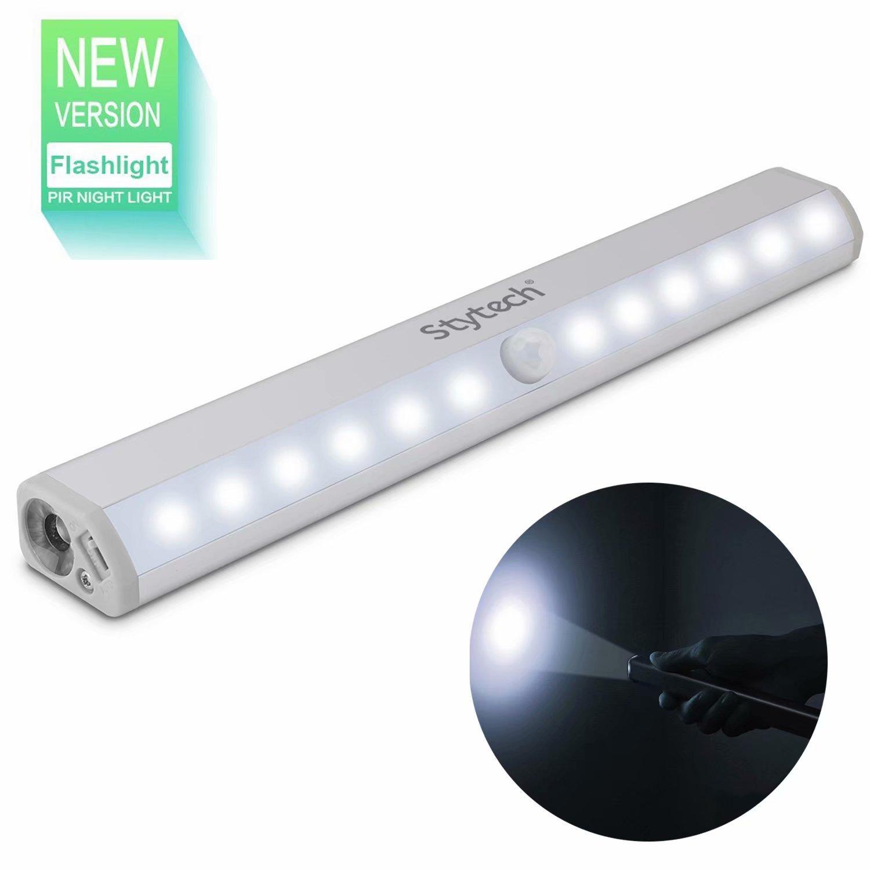Wireless Motion Sensor Closet Light - Cabinet Light Stick-on Anywhere 12 LED Wardrobe/Stairs/Step/Dorm Light Strip,LED Home Night Light, USB Rechargeable Safe Lights with Flashlight