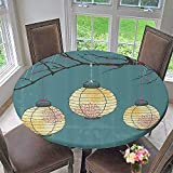 Mikihome Round Tablecloths Three Paper Lanterns Hanging The Branches Lighting Fixture Source Lamp 67''-71'' Round (Elastic Edge)