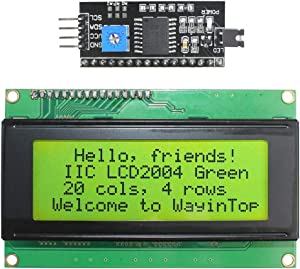 WayinTop 20x4 2004 LCD Display Module with IIC/I2C/TWI Serial Interface Adapter for Arduino Mega 2560 (Yellow Green/2004)