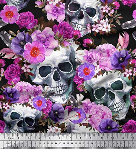Soimoi Purple Cotton Voile Fabric Skull,Rose & Anemone Flower Decor Fabric Printed BTY 42 Inch Wide