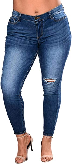 d893191c84d Womens Plus Size Stretch Distressed Ripped Skinny Denim Pants Juniors Ripped  Jeans Slim Fit Boyfriend Jeans. Back. Double-tap to zoom
