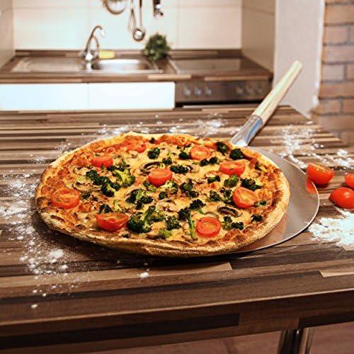 2 teiliges Pizza Set runder Pizzastein aus Cordierit Pizzaschaufel Pizzaschieber