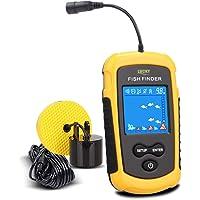 LUCKY Buscadores de Pescado Alarma 100M / 328ft Sensor de Sonar portátil de Pesca con Cable LCD Profundidad buscador…