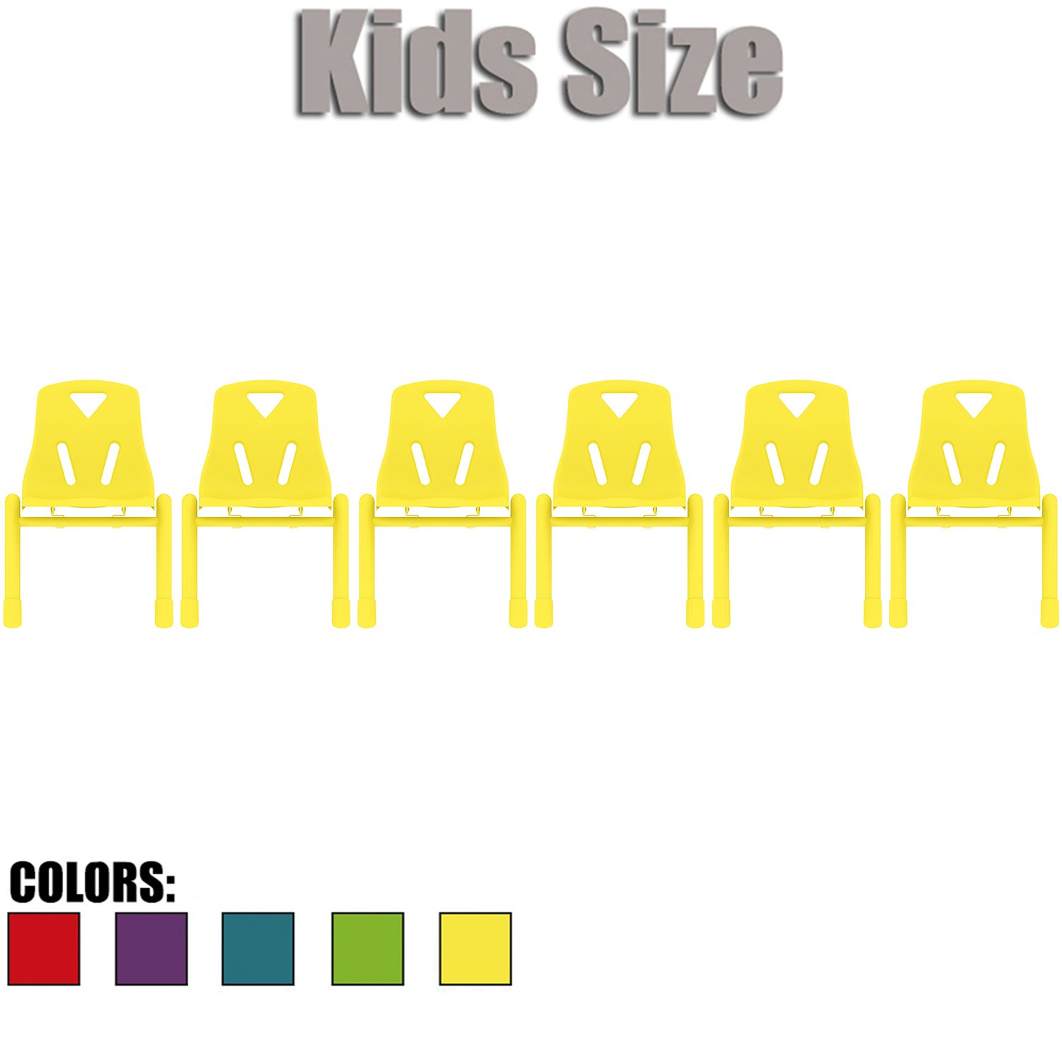 2xhome - Set of Six (6) - Yellow - Kids Size Plastic Side Chair 12'' Seat Height Yellow Childs Chair Childrens Room School Chairs No Arm Arms Armless Molded Plastic Seat Coated Metal Legs Stackable