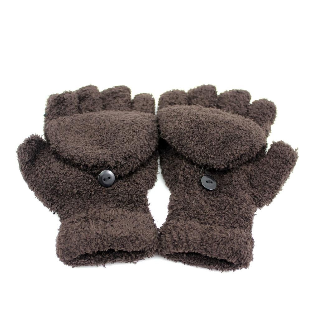 HuaYang Fashion Unisex Autumn Winter Warm Half Fingers Flip Fingerless Gloves Mittens 1 Pair(Brown)