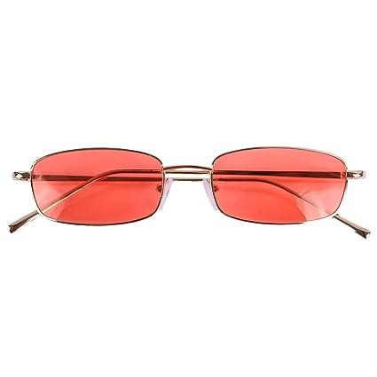 TOOGOO Gafas de sol vintage Mujeres Hombres Gafas rectangulares Pequenas gafas de sol retro Mujeres S8004 marco negro gris