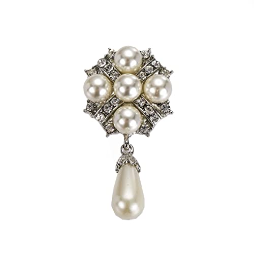 Vintage Style Corsage Hochzeit Silber Ivory Pearl Drop Mit Brosche