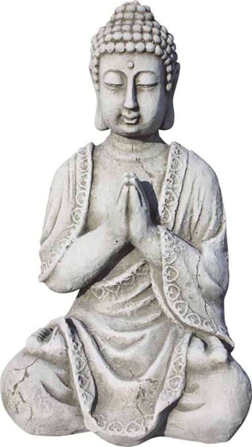 AnaParra Figura Buda Meditación para el jardín Decorativa 33cm. hormigón Natural Musgo.: Amazon.es: Jardín