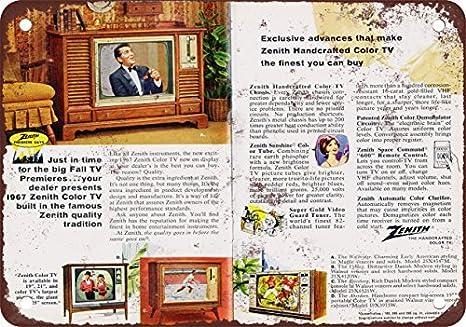 1966 Zenith reproducción de colores con televisores aspecto Vintage Metal Tin Sign 7 X 10 pulgadas: Amazon.es: Hogar