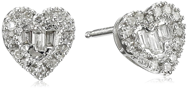 10k White Gold Diamond Baguette Heart Stud Earrings (1/10cttw, I-J Color, I2-I3 Clarity)