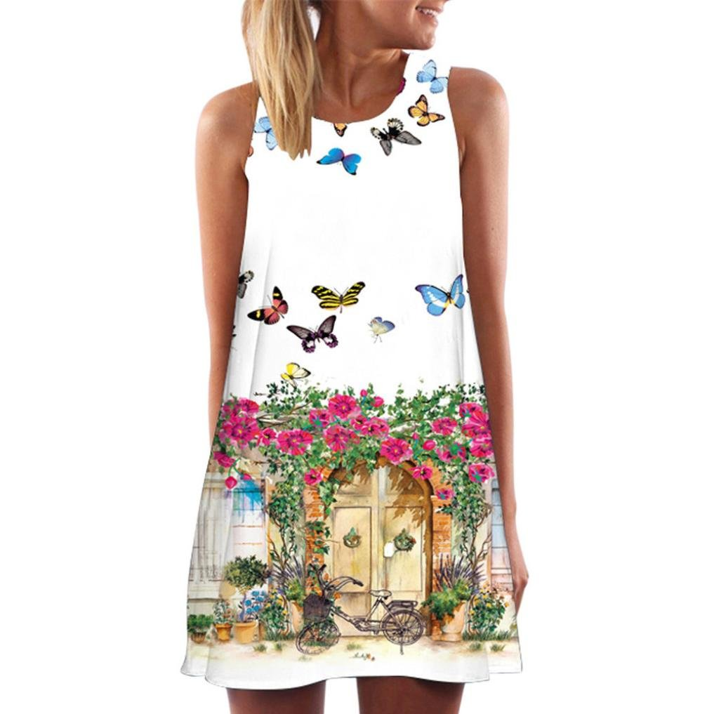 Mini Dress,Vintage Boho Women Summer Sleeveless Beach Printed Short Tank Dress (White 4, S)