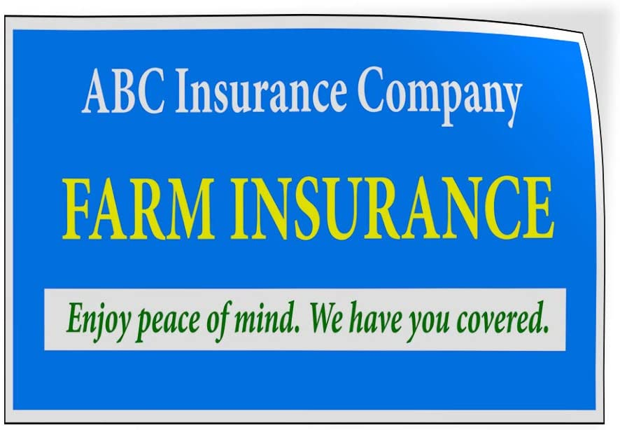 Custom Door Decals Vinyl Stickers Multiple Sizes Company Name Farm Insurance Blue Business Insurance Company Outdoor Luggage /& Bumper Stickers for Cars Blue 34X22Inches Set of 10