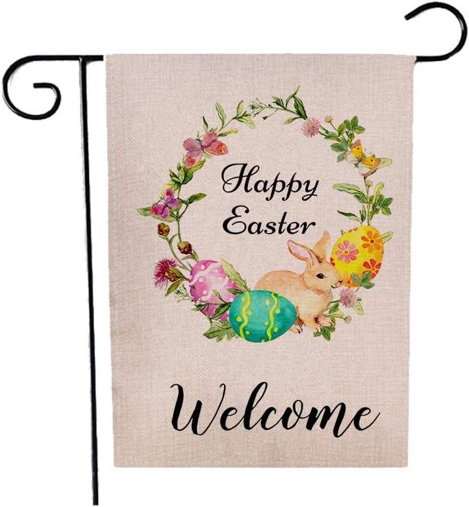 Vichona Happy Easter Garden Flag, Welcome Bunny Easter Eggs Flower, 12