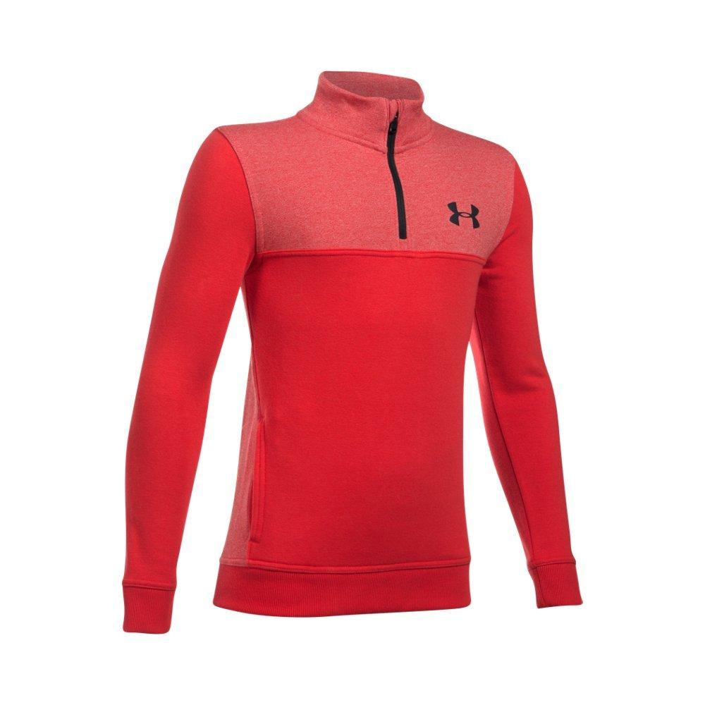 Under Armour Boys' Threadborne Fleece ¼ Zip,Red /Black, Youth X-Small