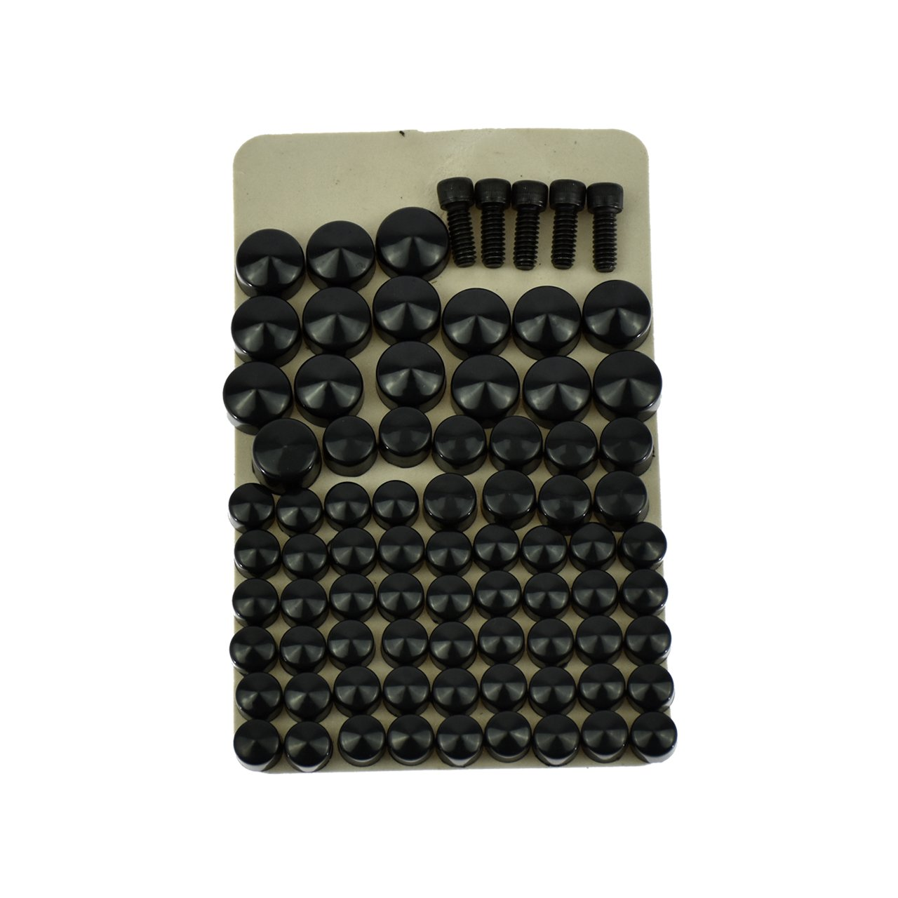 Motorcycle Black 75pcs Bolts Toppers Caps Cover for Harley Touring FLT FLH 2007-2010 2011 2012 2013 Rebacker