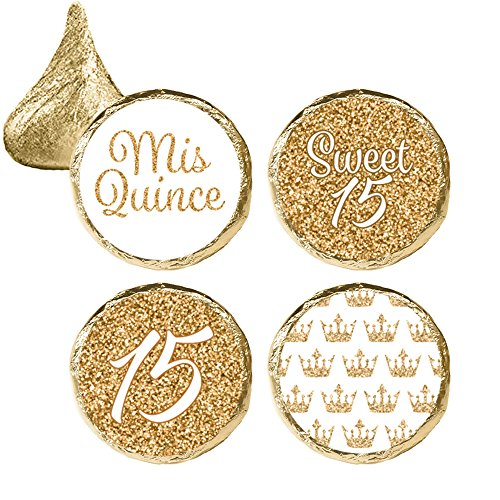 Quinceanera Party Favor Stickers, 324 Count (White and Gold)]()