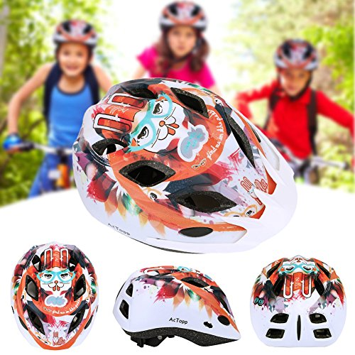 AcTopp Child Bike Helmet, Safety Adjustable Ultralight MTB/Road/Motorcycle Helmets with Removable Visor, Multi Vents and Inner Padding Chin Protector (Black&Red 2)