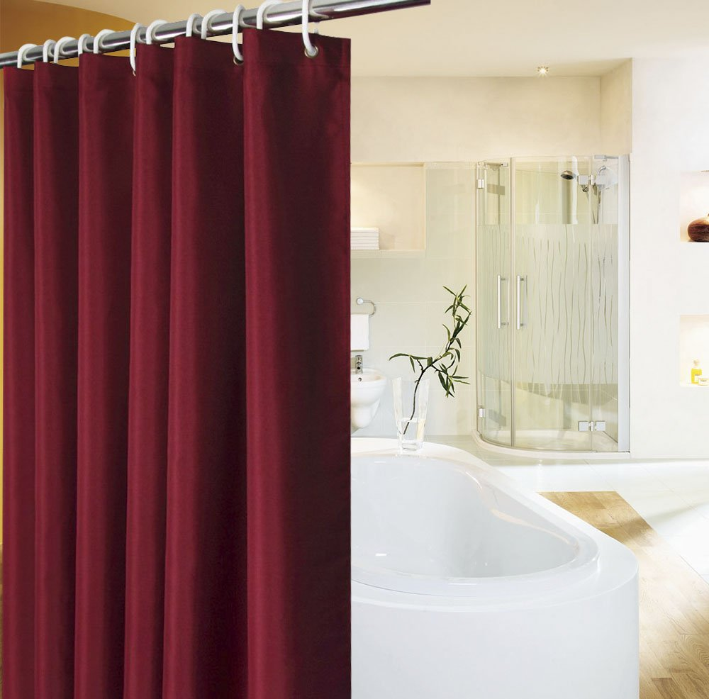 UFRIDAY Heavy Duty Linen-Like Shower Curtain 72Wx75L Waterproof Bath Curtain with Weighted Hem Grey/