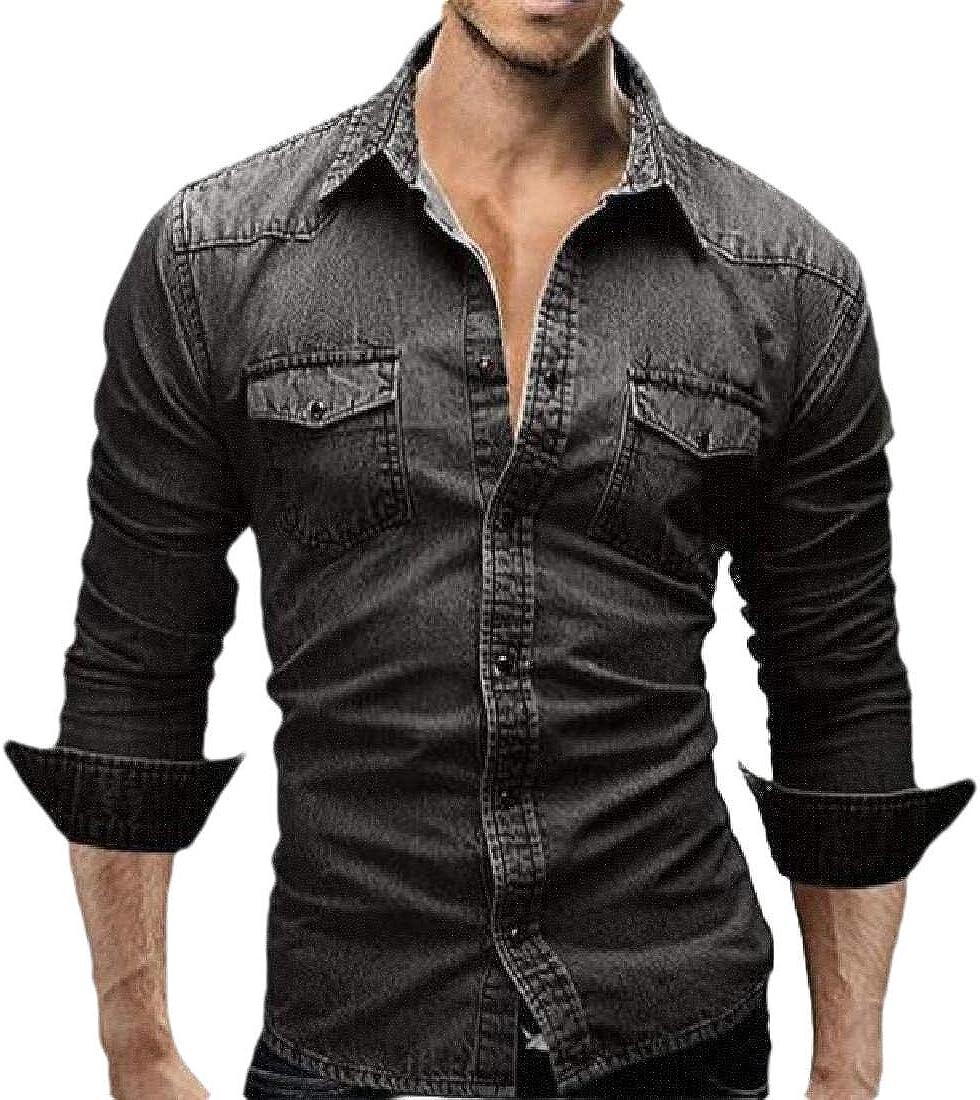 Mens Casual Slim Long Sleeve Lightweight Button Down Denim Shirts