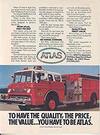 Amazon.com: 1983 Atlas Ford Pumper Fire Truck Ad ...