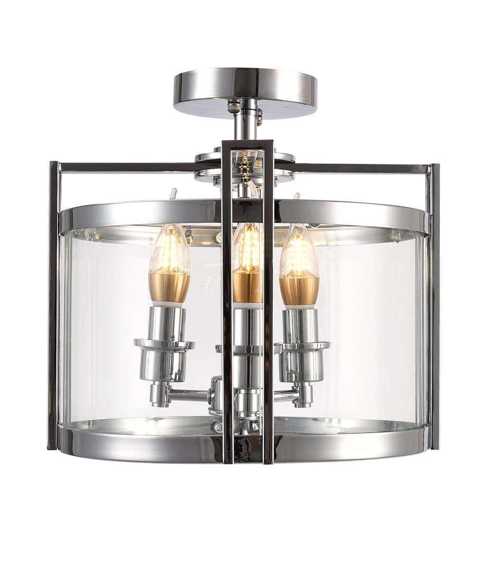 OLA-LIVING Eco-Power 3-Light Metal and Tempered Glass Ceiling Style Drum Cage Chandelier Lamp