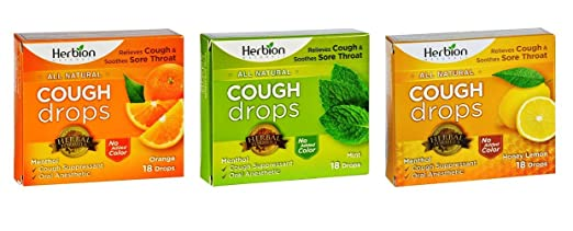 Herbion Naturals Herbal Formula Cough Drops 3 Flavor Variety Bundle, 1 each: Orange, Mint, Honey Lemon (18 Count)
