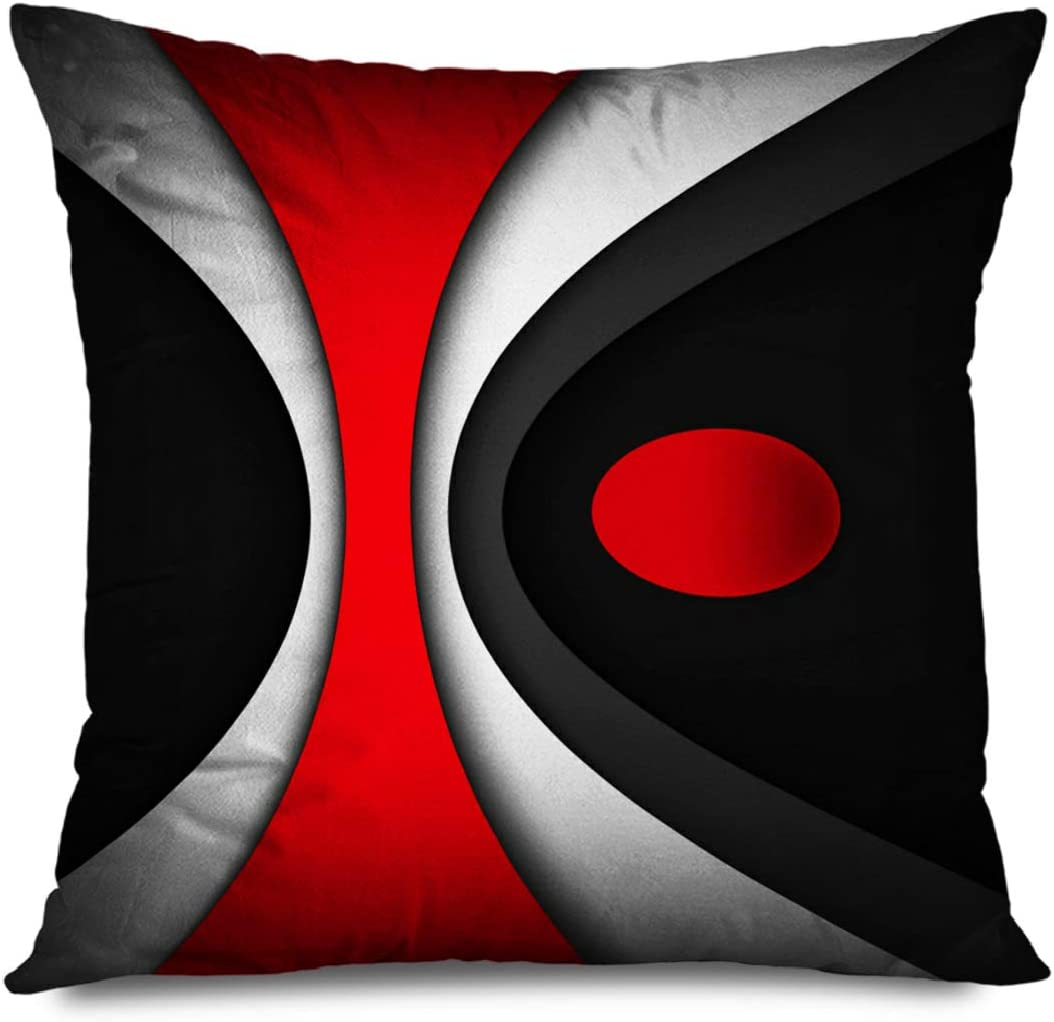 CHARLLR Throw Pillow Cover 18x18 Inch Mordern Modern Abstract Red Stripes Gray Black White Lines Retro Spiral Artwork Contemporary Art Circle Decorative Pillowcase for Sofa Couch Bedroom Living Room