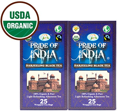 Pride Of India - Organic Darjeeling Black Tea, 25 Count (2-Pack) - Black India Organic Tea
