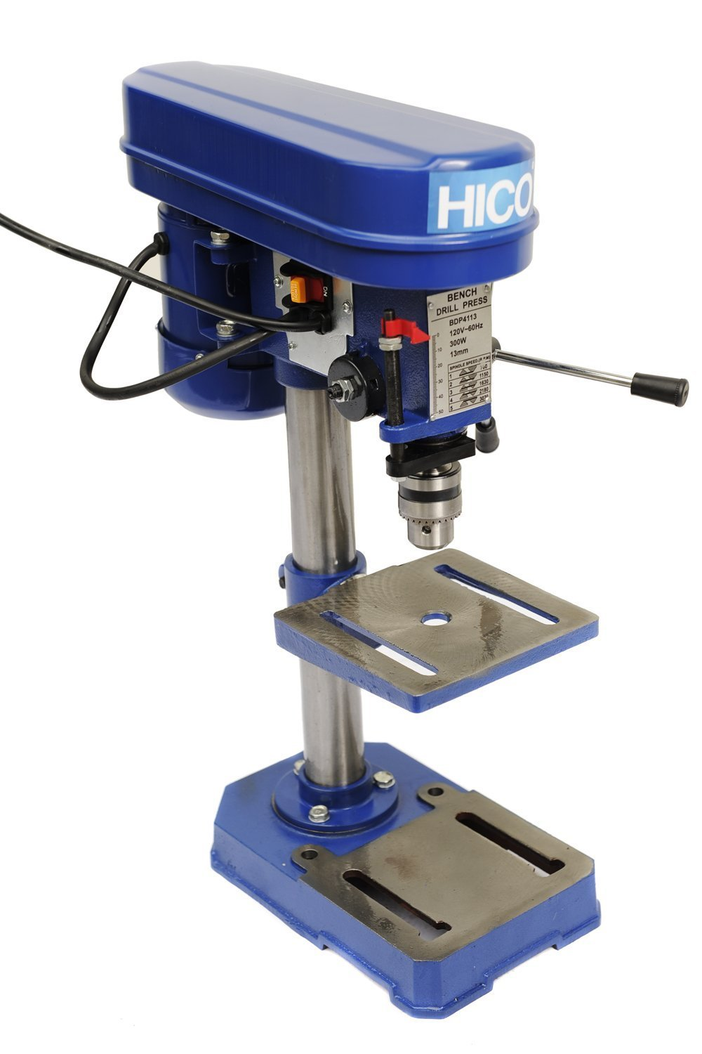 HICO Bench Top Drill Press - 8 Inch Adjustable Height, 5 Speed Motor, Cast Iron Table DP4113