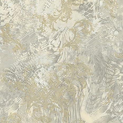 Carta Da Parati Moderna Texture.Roberto Cavalli Carta Da Parati Moderna Con Texture Beige Dorato E