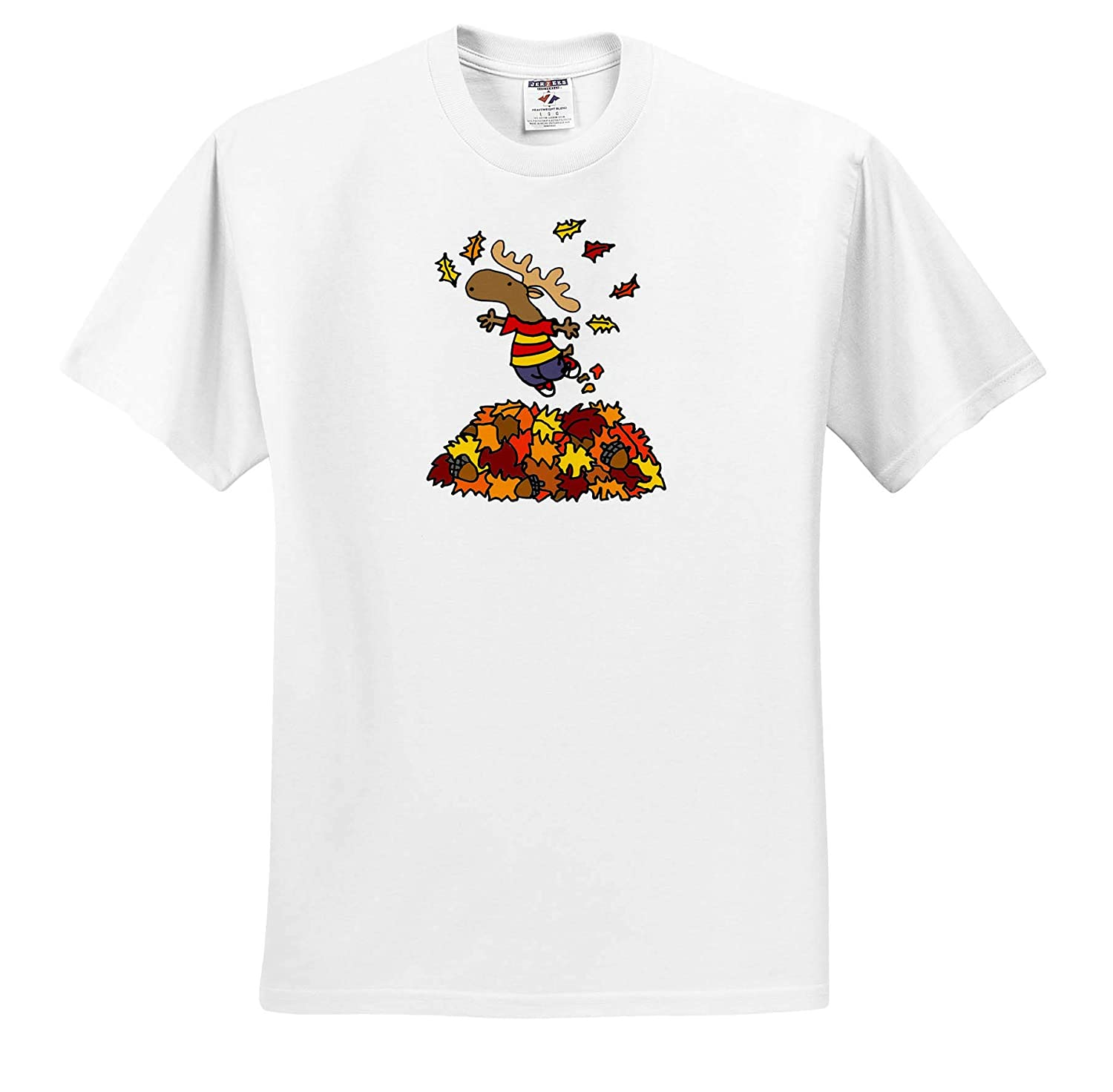 Funny Cute Funny Moose Jumping in Leaf Pile Cartoon T-Shirts 3dRose All Smiles Art