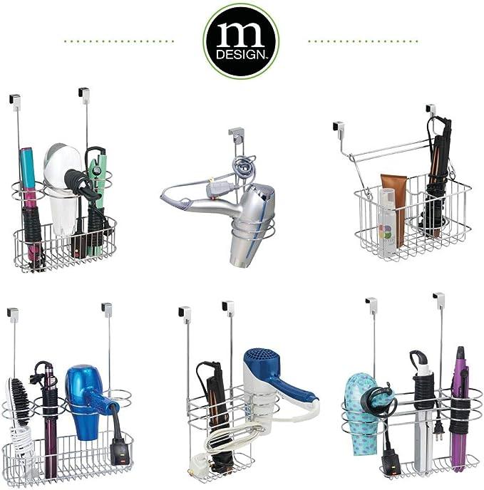 mDesign organizador de baño con 2 compartimentos - Soporte para secador de pelo sin perforaciones en color cromado - Ideal también para plancha pelo: Amazon.es: Hogar