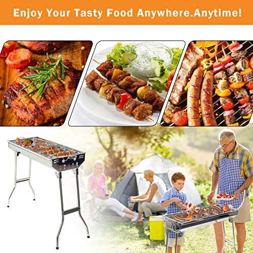 Grandma Shark Barbecue Portable, Grill Barbecue à Charbon de Pliable Four Grille de Cuisson Démontable pour Barbecue de Jardin extérieur Camping pour 5-8 Personnes