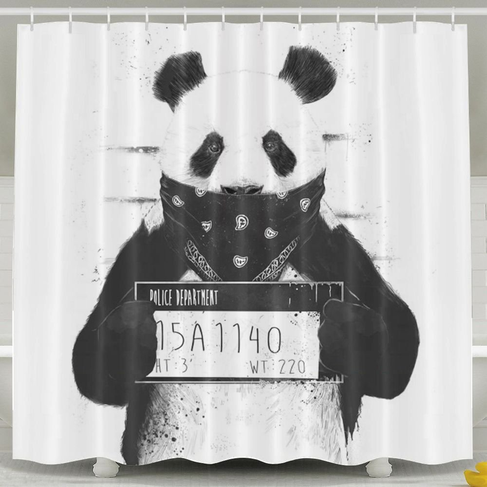 Bad Panda Shower Curtain,Waterproof Polyester Shower Curtain Sets For Men/Women