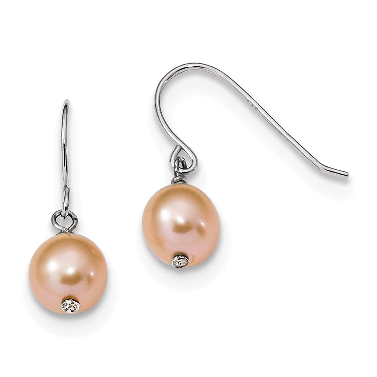.925 Sterling Silver Rhodium-plated 7-8mm Pink Freshwater Cultured Dangle Earrings