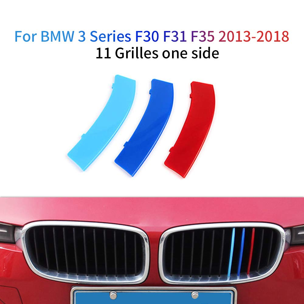 11 Grilles For BMW 3 Series F30 F31 F35 2013-2018 M Color Front Grille Grill Cover Insert Trim Clips 3Pcs