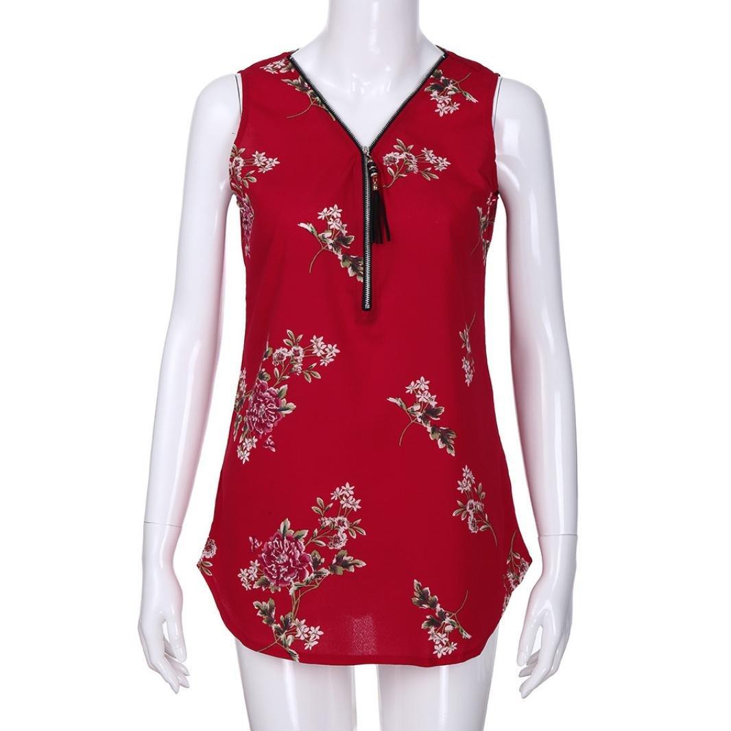3225b44416d Amazon.com  UONQD Woman Women Zipper Sleeveless Casual Vest Top Blouse  Ladies Summer Loose T Shirts Top  Clothing