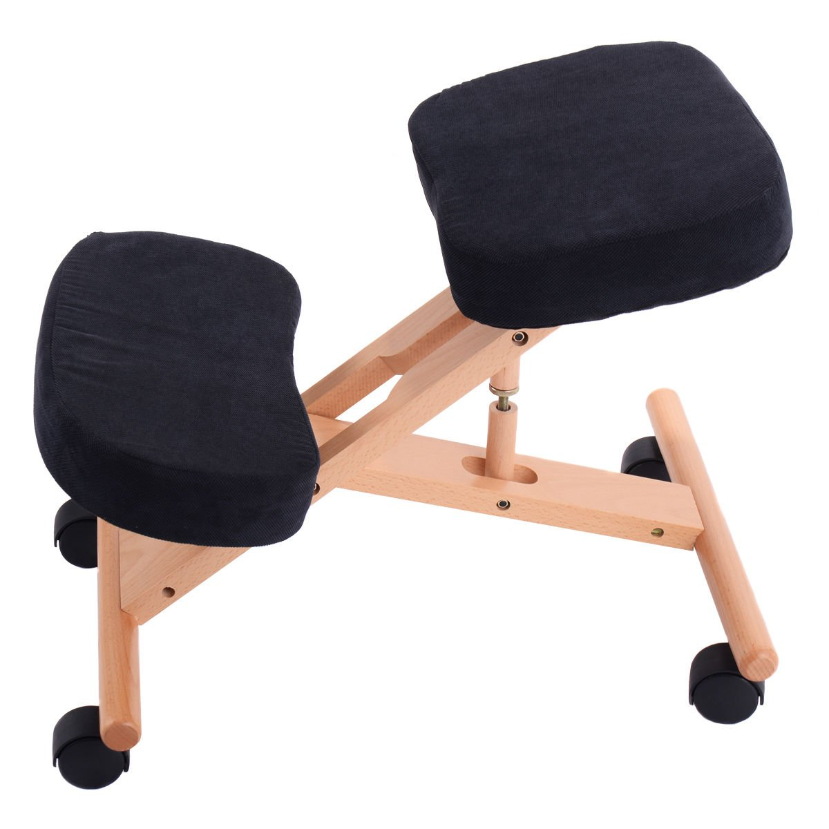 Ergonomic Kneeling Chair Wooden Adjustable Mobile Padded Seat and Knee Rest New by Sanny