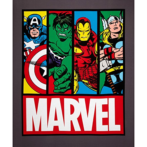 Marvel Comic Avengers Panel Grey/Multi Fabric By The Yard