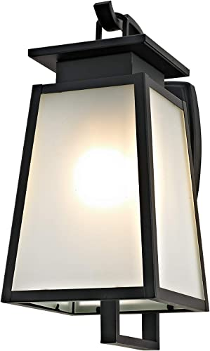 Addington Park 31741 Citadel Collection 1-Light Transitional Outdoor Wall Sconce, Frosted Glass, Black