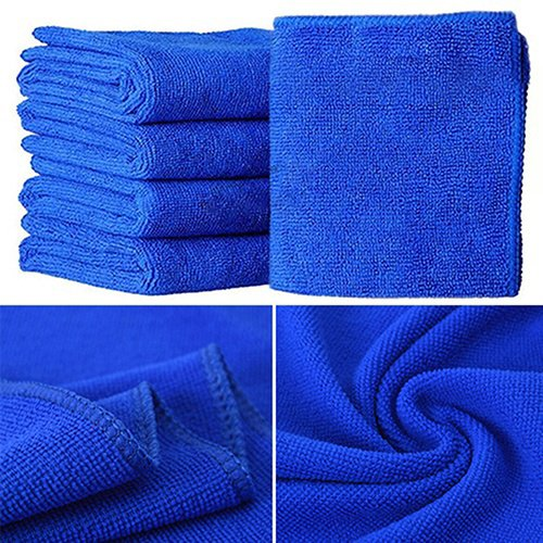 caxmtu prá ctico 10pcs azul suave absorbente pañ os de limpieza de microfibra pañ o de lavado coche Auto cuidado