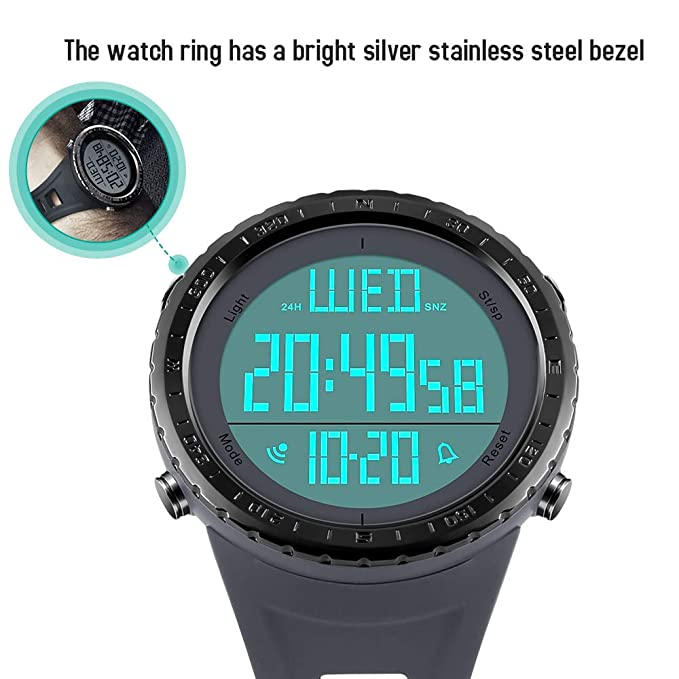 Reloj digital deportivo para hombre, números grandes, resistente al agua, cronómetro, cuenta atrás, LED, reloj de pulsera militar para hombre: SKMEI: ...