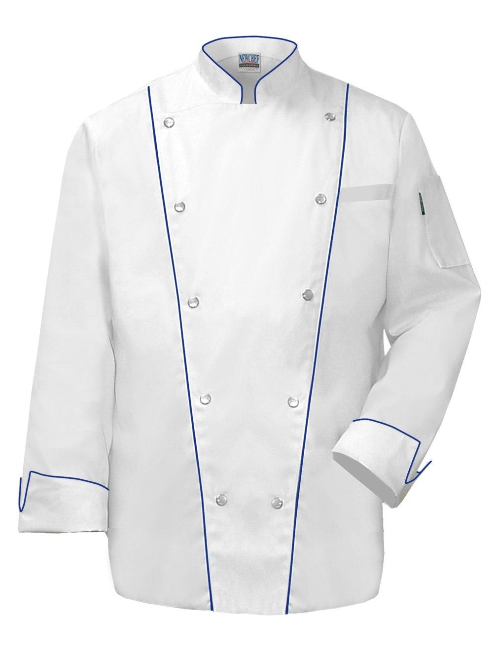 Newchef Fashion Royal Chef Coat Royal Blue Trim 2XL White
